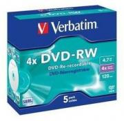 DVD-RW Matt Silver 4x 4.7 GB - 5 Pack Jewel Case Optical Media