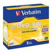 DVD+RW Matt Silver 4x 4.7 GB - 5 Pack Jewel Case Optical Media