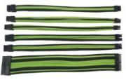 6 Piece PSU Sleeved Extension Cable Set - Black & Green