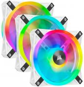 iCUE QL120 RGB 120mm PWM Triple Fan with Lighting Node Core - White Frame