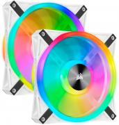 iCUE QL140 RGB 140mm PWM Dual Fan Kit with Lighting Node Core - White Frame